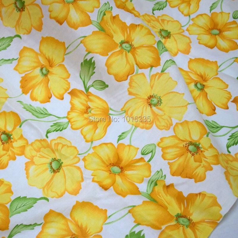 e7434c790 160 cm ancho gran flor amarilla impresa algodón Telas para juego de cama  patchwork hecho a mano Telas