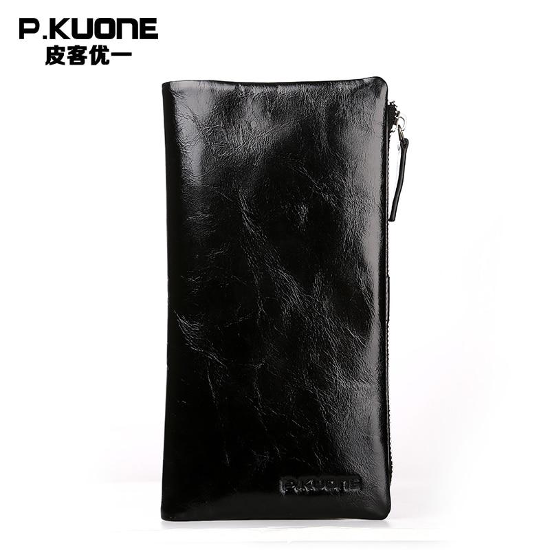 P.KUONE oil wax leather men's wallet genuine long wallet multi-card purse leather zipper handbag soft genuine leather Clutch bag цена и фото