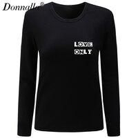 Donnallaผู้หญิงเสื้อยืดOคอแขนยาวลำลองผ้าฝ้ายT