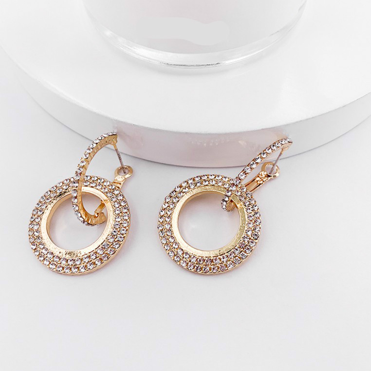 Korean Version Of The 2019 Fashion New Earrings Geometric Personality Wild Thin Small Circle Crystal Ladies Earrings Wholesale|Stud Earrings|   - AliExpress