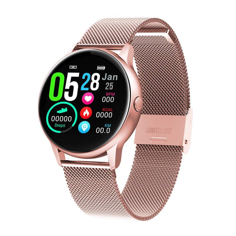 2019 dernière DT88 montre intelligente femme 1.22 pouces écran couleur femmes Smartwatch fréquence cardiaque pression artérielle oxygène étanche horloge