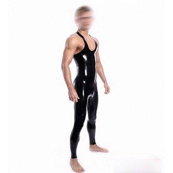 Latex catsuit sleeveless black Long bodysuit garment pants for strong adult plus size Jumpsuit Customize Service