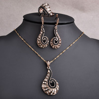 Indian Jewelry Sets Music Note Pendants Stud Earrings Rings For Women Antique Gold Alloy Necklaces Aretes
