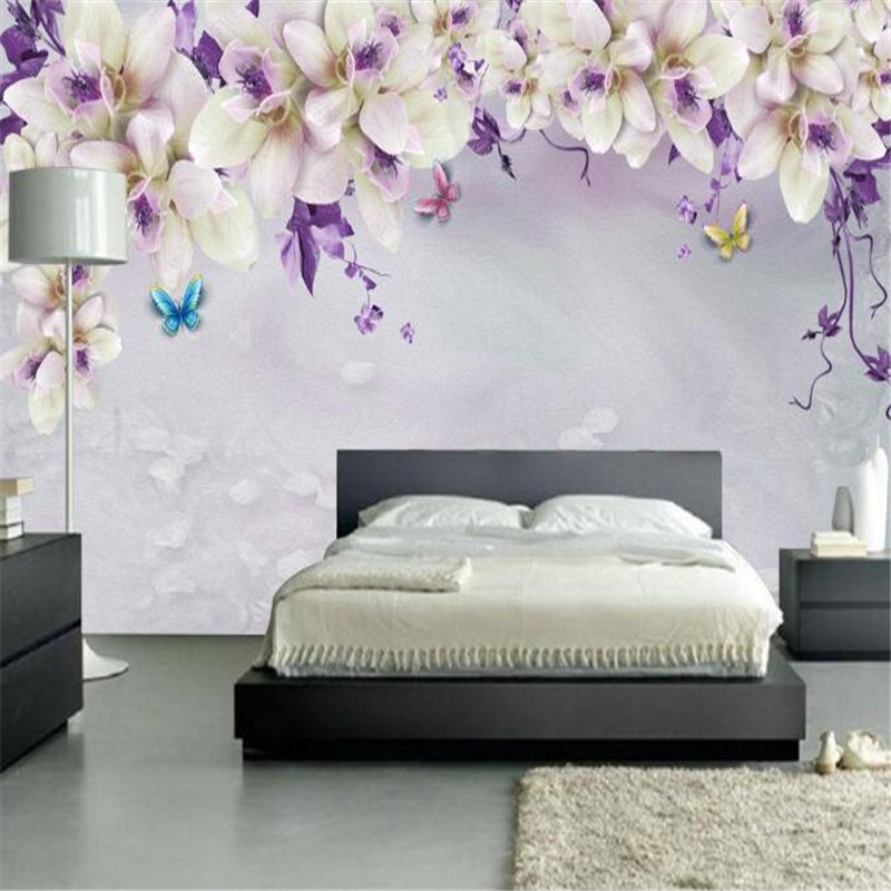 Custom Wallpaper Photo Mural 3D Vintage Flower Simple Wallpaper Roll Noble Purple Wallpapers for Living Room TV Background Wall 10m victorian country style 3d flower wallpaper background for kids room mural rolls wallpapers for livingroom wall paper decal