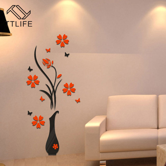 top ttlife living room bedroom home decorate diy vase flower tree crystal  arcylic d wall stickers