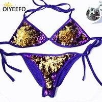 Oiyeefo Double Sides Shiny Purple Gold Sequins Bikini Brazilian Swimwear Paillette Bathing Suits Women Cotton Bright