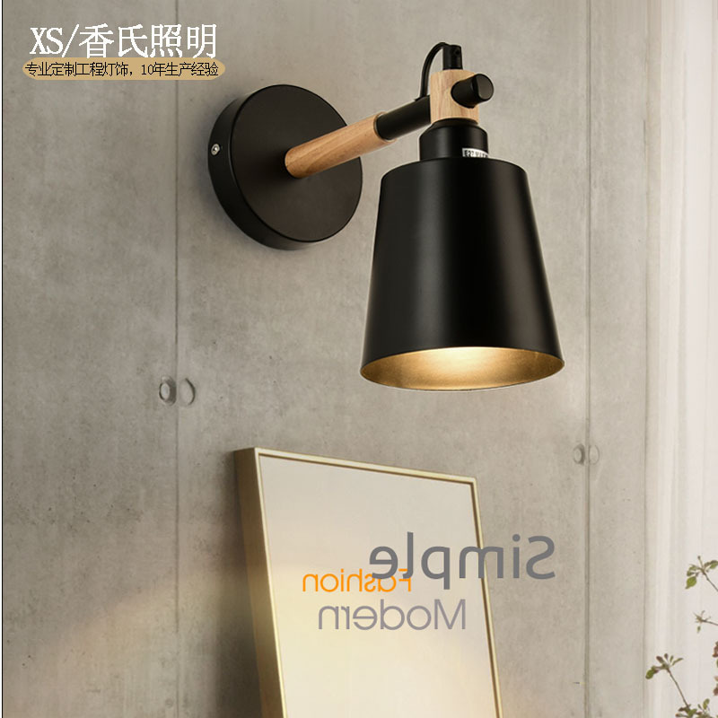 все цены на LED Wall Lamps Living Room Wall Sconces Light E27 Nordic Wooden belt Wall Light White/Black Bedside Lamp porch light ZBD0071
