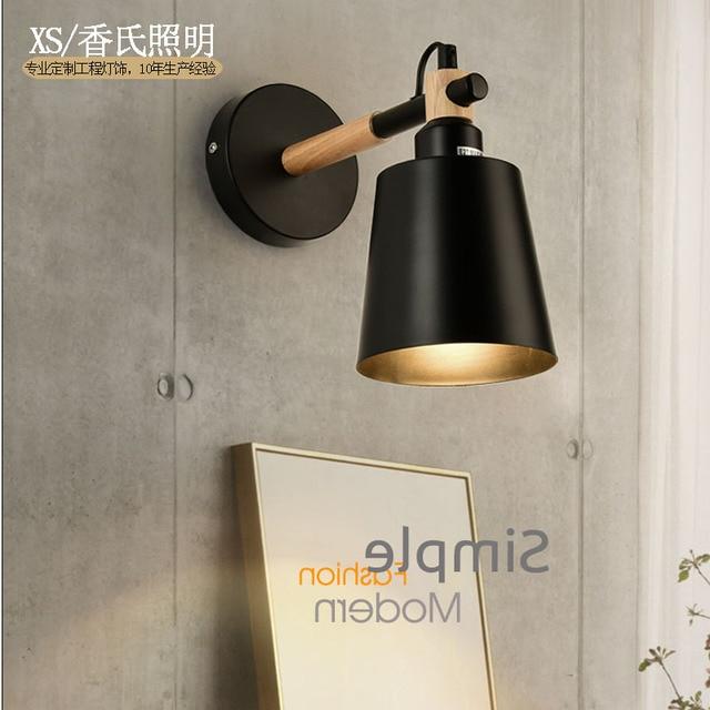 LED Wall Lamps Living Room Sconces Light E27 Nordic Wooden Belt White