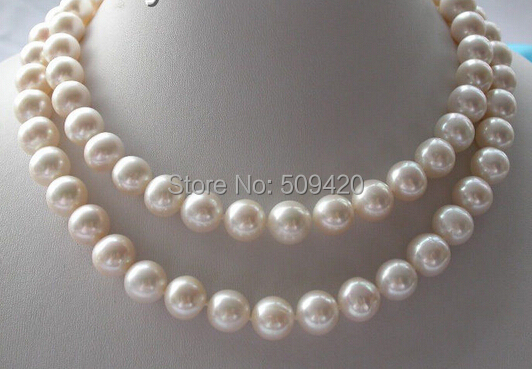 """W& O658>> КЛАССИЧЕСКИЙ 3"""" АААА+ 11 мм белый круглый пресной воды культивированный жемчуг necklace14k"""