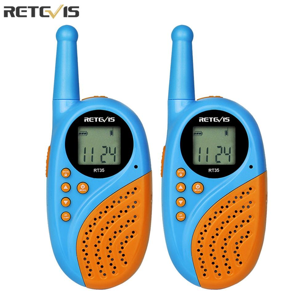 2pcs Retevis RT35 Kids Walkie Talkie Radio UHF 0.5W License-free Rechargeable USB Charge VOX Two Way Radio Station