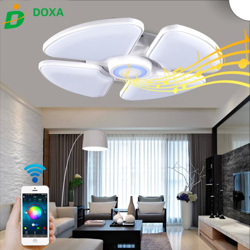 Us 159 5 42 Off Bluetooth Music Led Contemporary Ceiling Lights Smartphone Dimmable Lamparas De Techo Lamps Fixtures Re For Living Room In