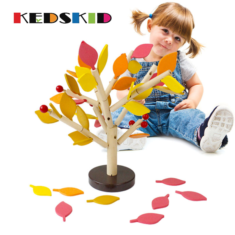 Children Wooden Toys Fight Inserted Blocks Snowflake Balance Wisdom Tree Early Educational Game - Spring Autumn