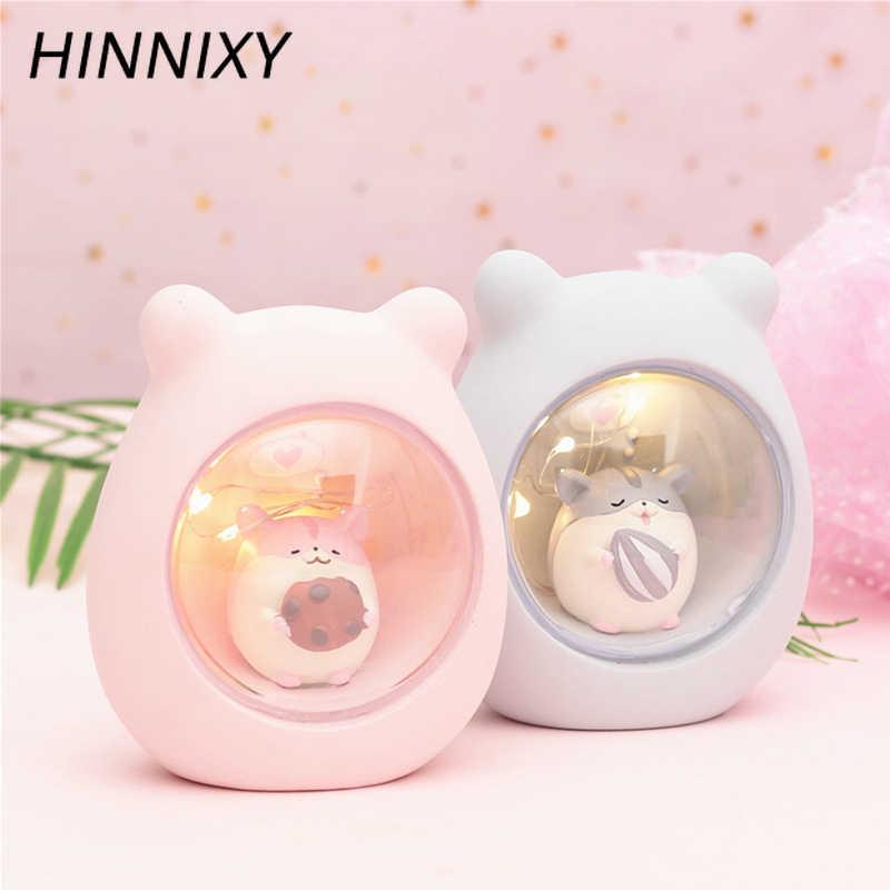Hinnixy смолы животных Ночной светильник розовый голубой Единорог Медведь обезьяна декор в виде оленя лампа для девочек Детский Светильник для спальни светильники милые подарки