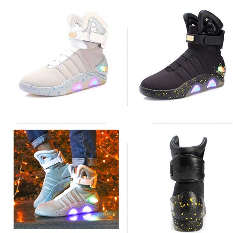 2019 film retour à l'avenir chaussures Cosplay Marty McFly baskets chaussures lumière LED lueur cosplay chaussures rechargeables cadeaux d'anniversaire