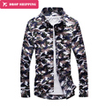 2016 Sale Promotion Solid Regular Turn-down Collar Full Camisas Dropshipping Camouflage Shirt Men's Sleeved Cotton Shirt,tx38
