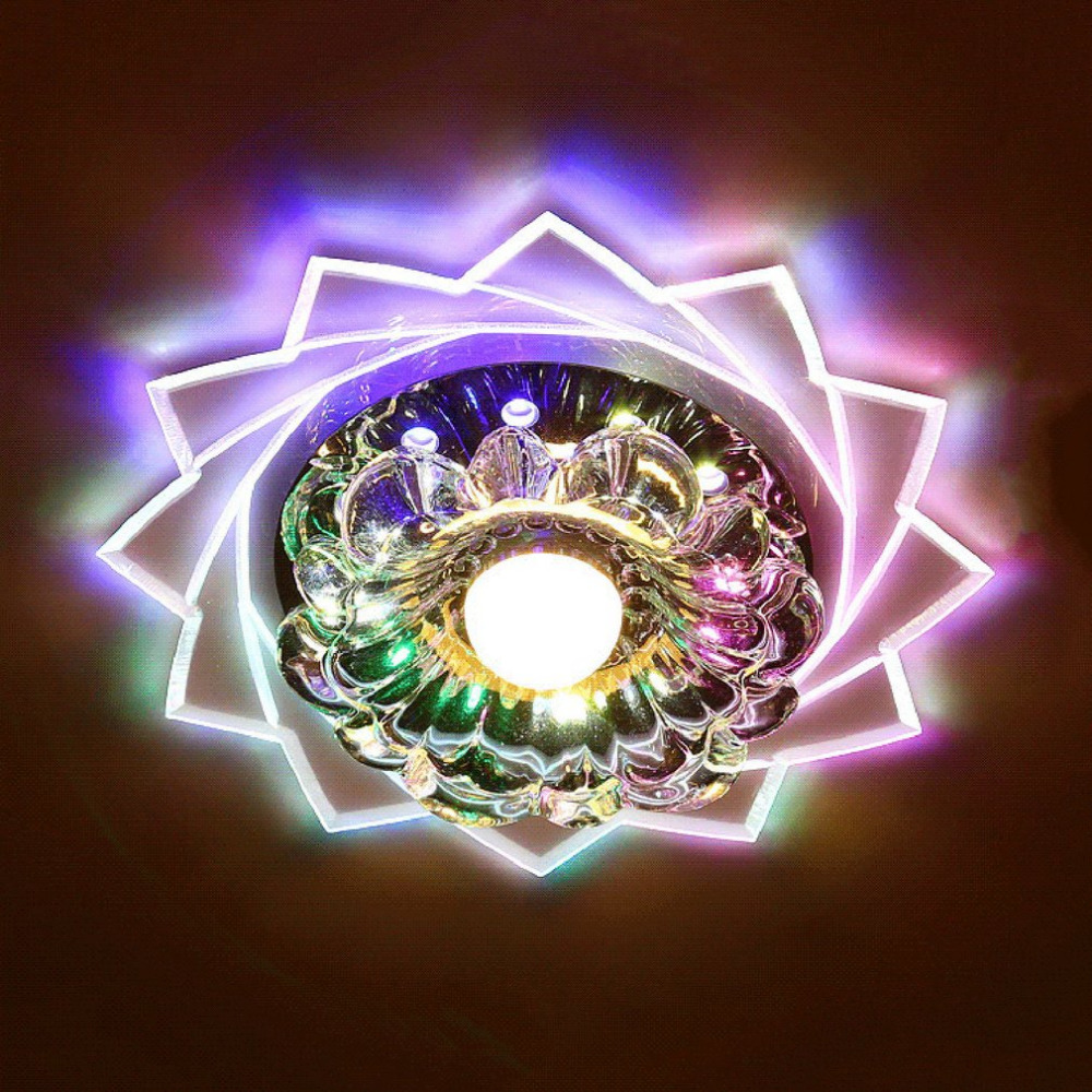 Romantic Crystal Ceiling Lights Led Round Aisle Lighting Entrance Hallway Sconce Lights Lamp Flush Mounted Lights