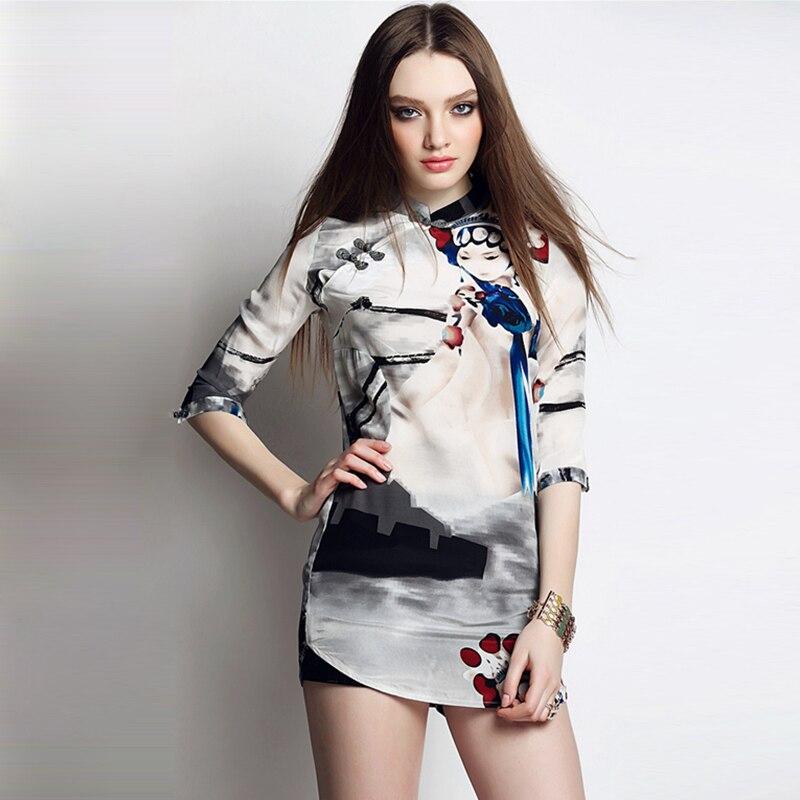 Haute qualité 100% blouse en soie femmes impression facebook chinois Pankou mandarin col demi-manches léger tissu haut décontracté