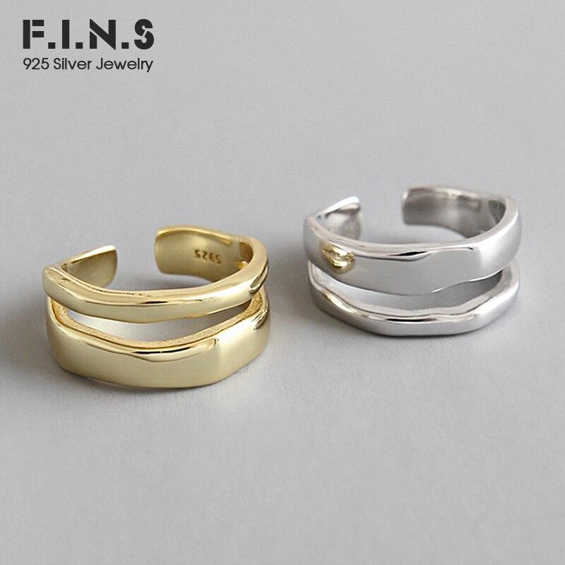 F.I.N.S mode 925 en argent Sterling anneaux Double couche femelle bague en argent 925 ouverture réglable anneau dames bijoux fins