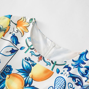 Image 5 - Aeleseen 가을 여성 긴 드레스 2018 휴일 럭셔리 하프 플레어 슬리브 패션 패치 워크 인쇄 도자기 로맨틱 활주로 드레스
