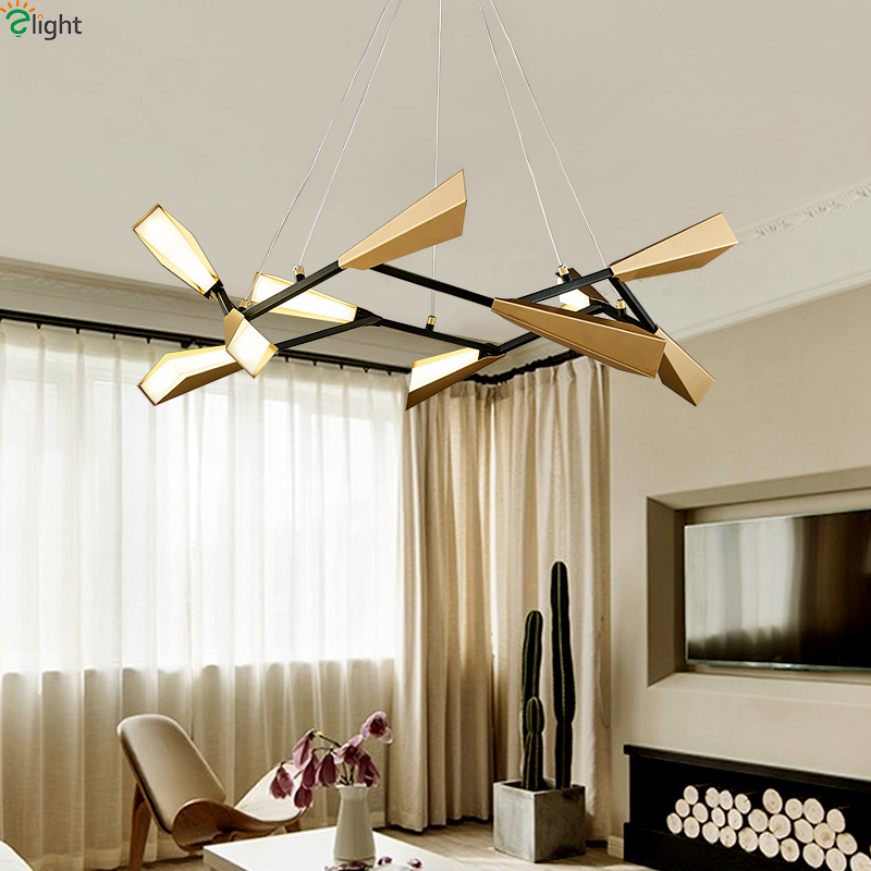 Modern Gold Metal Led Pendant Lights Living Room Led Pendant Lamp Dining Room Acrylic Pendant Light Bedroom Hanging Lamp Fixture modern led pendant lights for dining living room acrylic 38w led pendant lights lamp lighting fixture lamparas modernas vallkin