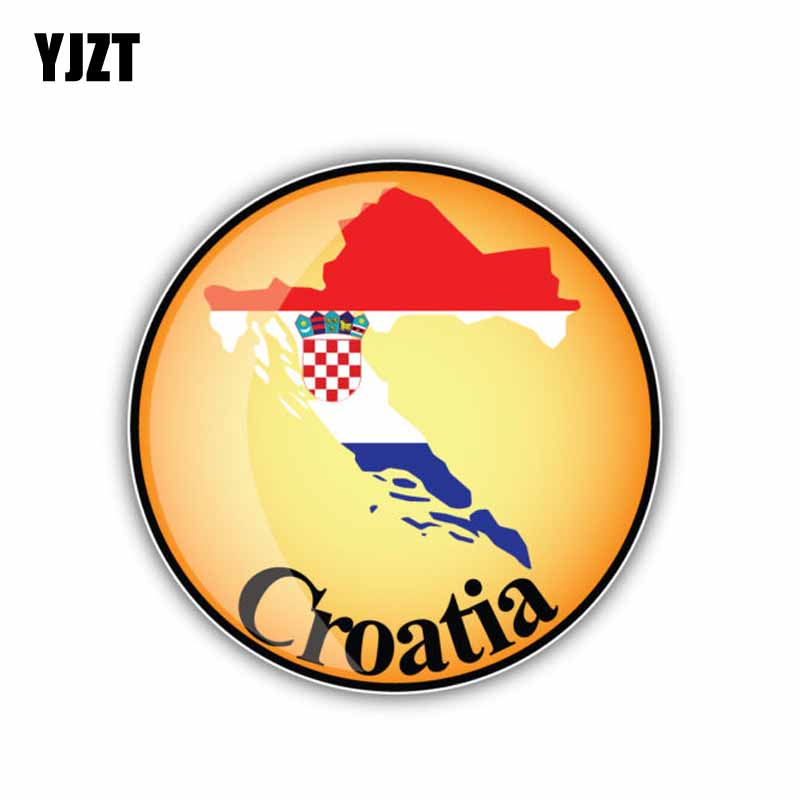 YJZT 11CM*11CM Car Styling Croatia Round Map Flag Accessories Car Sticker Decal 6-1916