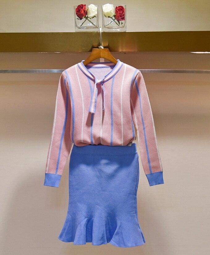 Hchenli 2017 Women Pink Blue Stripe Sweater Clothing Set 2 Pieces Sweatershuit+short sweater skirt Pack hip Stripe Sweaters Skir