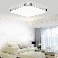 Modern LED Ceiling Light Living Room Bedroom LED Ceiling Lighting Silver Aluminum Shade Square Acrylic Lamp