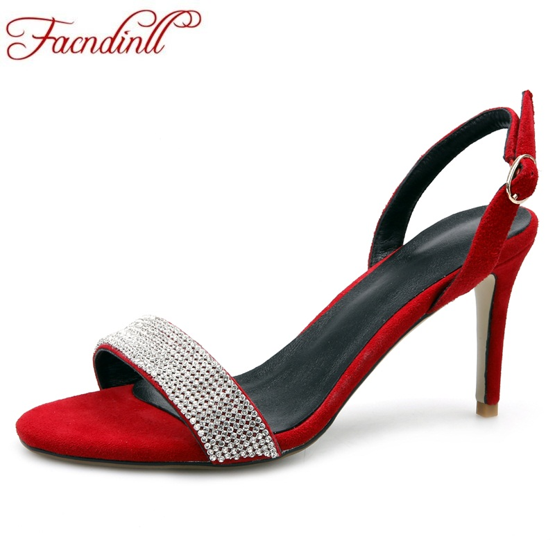 FACNDINLL new sale hot fashion 2018 sheepskin women sandals rhinestone sequins fine high heels wedding dress date women sandals lanyuxuan 2017 new hot sale sandals