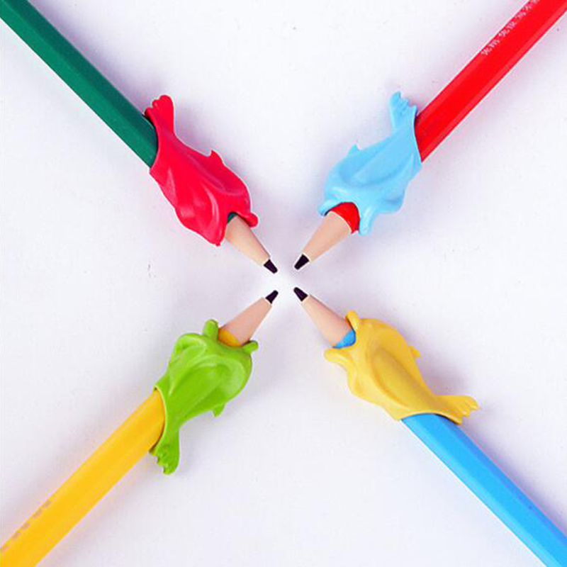 10pcs/set Kawaii Pen Pencil Grip Holder Writing Posture Corrector Random Color For Correct Children's Writing Posture #3