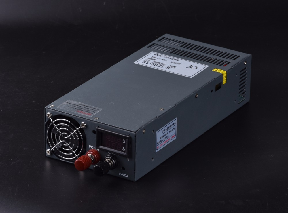 1200W 12V 80A Single Output Switching power supply with voltage and current display AC-DC S-1200-12 image