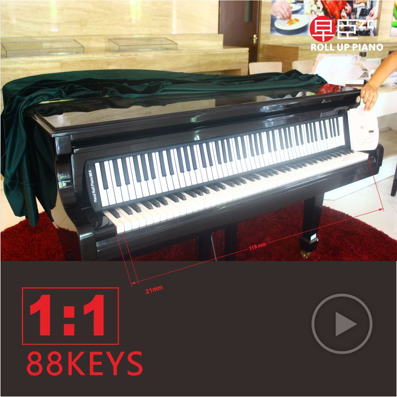 DHL 88keys mudah alih midi midi digital usb pengawal synthesizer roll up elektronik Keyboard piano keyboard Instrumen pelekat