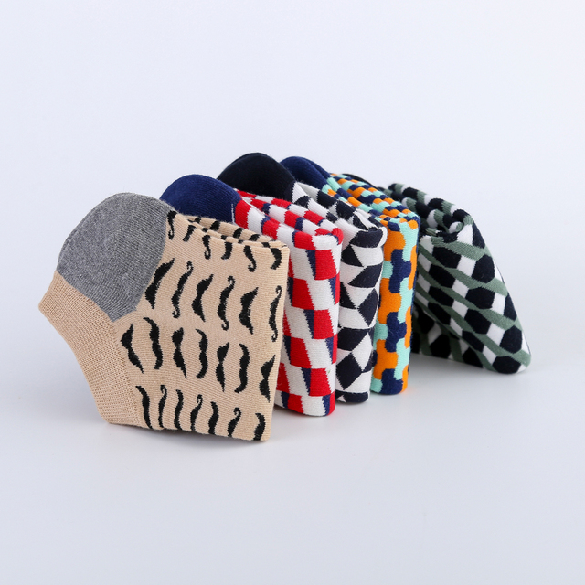 Jhouson Colorful Classic Beard Geometry Pattern Funny Ankle Sock Fashion Men's Cotton Novelty Summer Casual Socks For Male 5