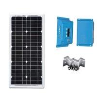 Portable Solar Energy Kit 20W Solar Panel 12V Battery Charger PWM Solar Charge Controller 10A 12V/24V Z Bracket For Laptop Camp