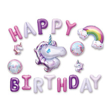 19pcs Large Unicorn Balloons 16inch Letters Foil Ballons Happy Birthday Party Decorations Kids Supplies Toy