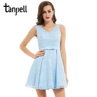 Tanpell V Neck Homecoming Dresses Cheap Blue Sleeveless Above Knee A Line Gown Women Lace Ruched