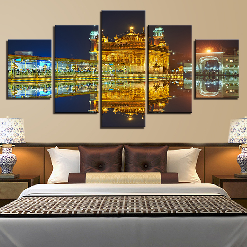 Wall Art Canvas Poster Living Room Home Decor 5 Pieces Golden Temple Beautiful Night View Paintings HD Prints Pictures Framework