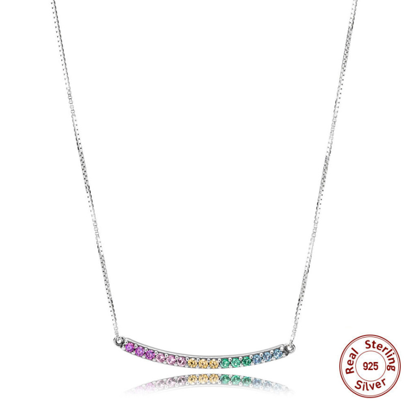 Real 100% 925 sterling silver Color CZ Rainbow Arcs OF LOVE Necklace Fit Original Panqiou For Women Pendant Necklace DIY Jewelry original dropshipping my sweet pet paw love necklace girl 925 sterling silver pendant necklace for women fashion jewelry gifts