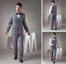 2016 Fashion Men Suits Brand Suits Gray Single Breasted Double-Button Groom Wedding Tuxedo Free Shipping