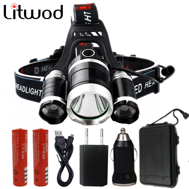 z10 led headlamp Headlight 9000 Lumen chips 3x XML T6 super bright LED Head Lamp Flashlight torch Rechargeable battery