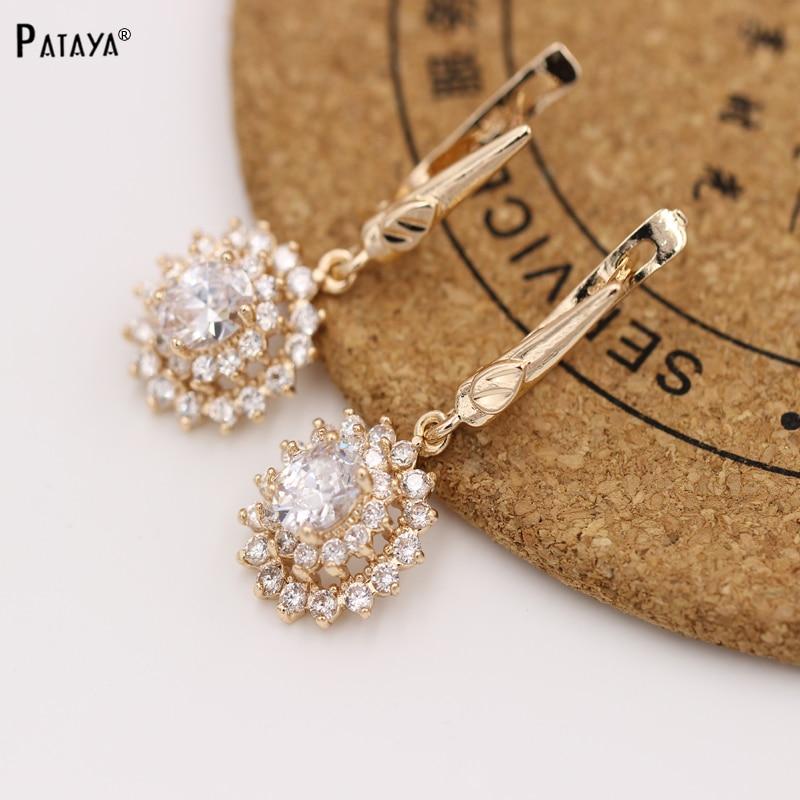 PATAYA Brand New Direct Selling Earrings 585 Rose Gold Swiss Zircon Sun Flower Exaggerated Earring Women white Luxury Jewelry