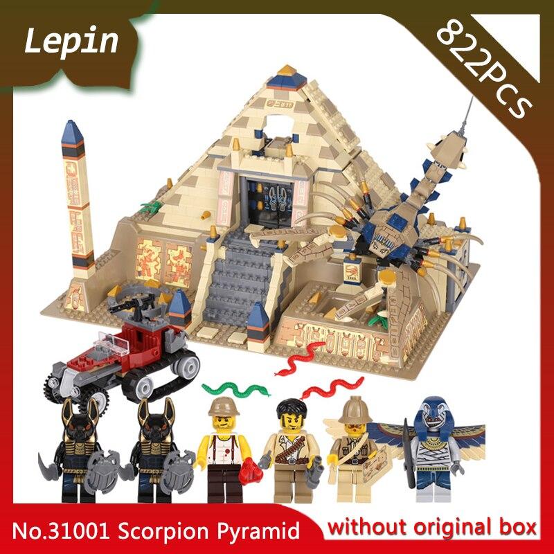 Lepin 31001 822Pcs Egypt Pharaoh Series The Scorpion Pyramid Building Blocks Bricks Toys Model Compatible with Legoings 7327 lepin 31001 egypt pharaoh series the scorpion pyramid 827pcs educational building blocks bricks toys for children gifts 7327