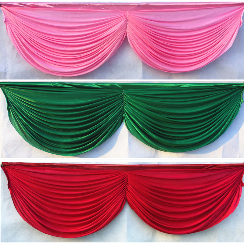 6m length 20ft Wedding backdrop swags ice silk table skirt hotel banquet backdrop decoration detachable wedding curtain swags-in Party Backdrops from Home & Garden    1