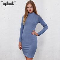 Toplook Blue Knitted Vintage Dress 2017 New Women S Autumn And Winter Bodycon Vestidos Long Sleeve