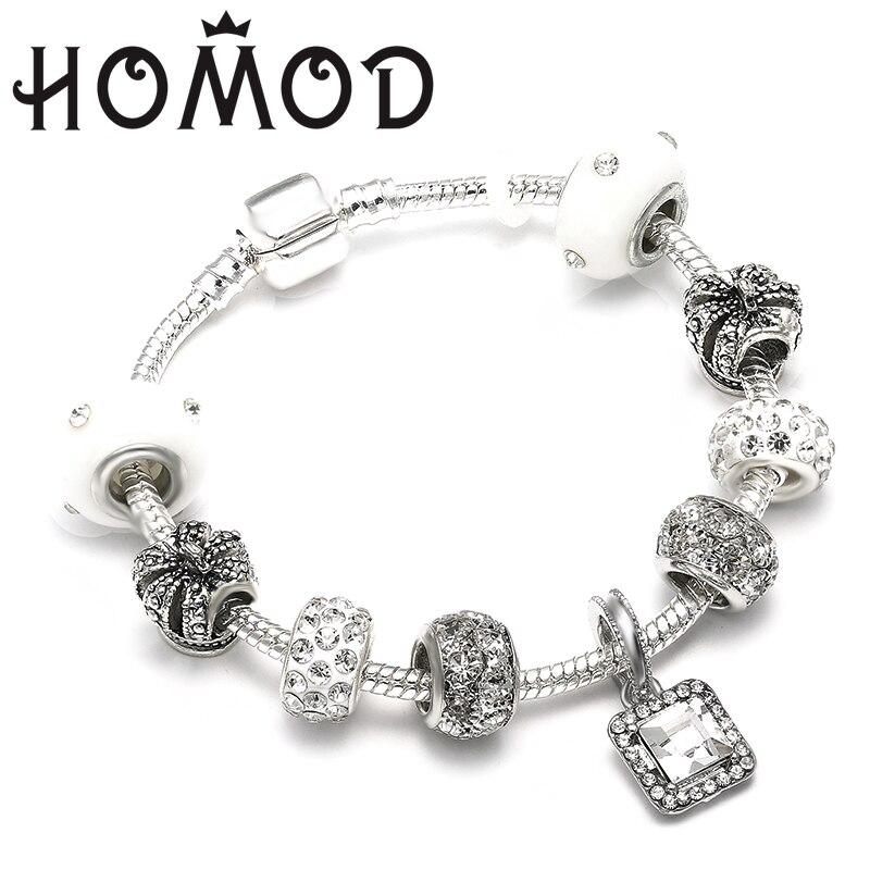 HOMOD New Charm Jewelry Silver Bracelets For Women White Crystal Beads Brand Bracelet Female Pulseras Mujer пандора браслет с шармами