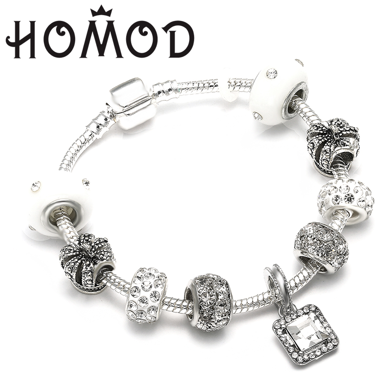 HOMOD New Charm Jewelry Silver Bracelets For Women White Crystal Beads Pandora Bracelet Female Pulseras Mujer