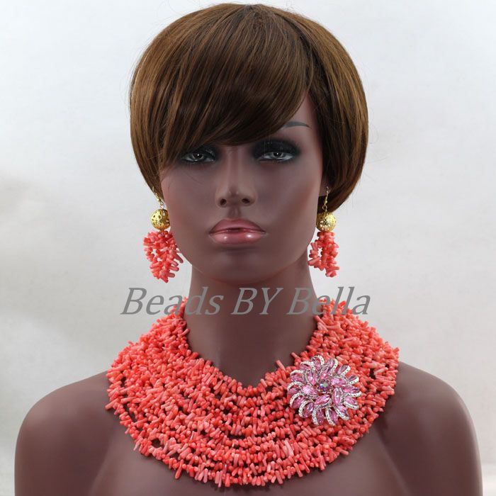 Chunky New Pink Coral Beads Necklace Earrings Jewelry Set Indian Bridal Women Jewelry Set African Wedding Free Shipping ABL267Chunky New Pink Coral Beads Necklace Earrings Jewelry Set Indian Bridal Women Jewelry Set African Wedding Free Shipping ABL267