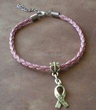 50ピースヴィンテージシルヴァーチャームホープリボンブレスレットピンク織りレザー幸運ブレスレット腕輪用女性アクセサリーx298