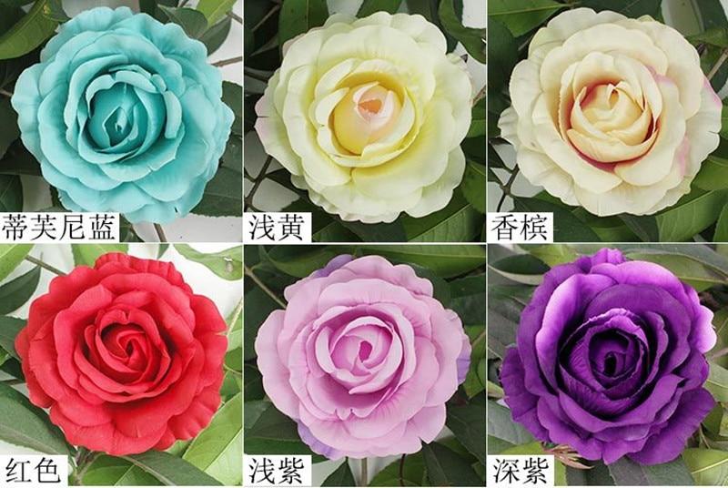 100pcs lot 12cm Artificial Rose Flower Heads For Wedding Flower Wall Decoration DIY Silk Rose Head
