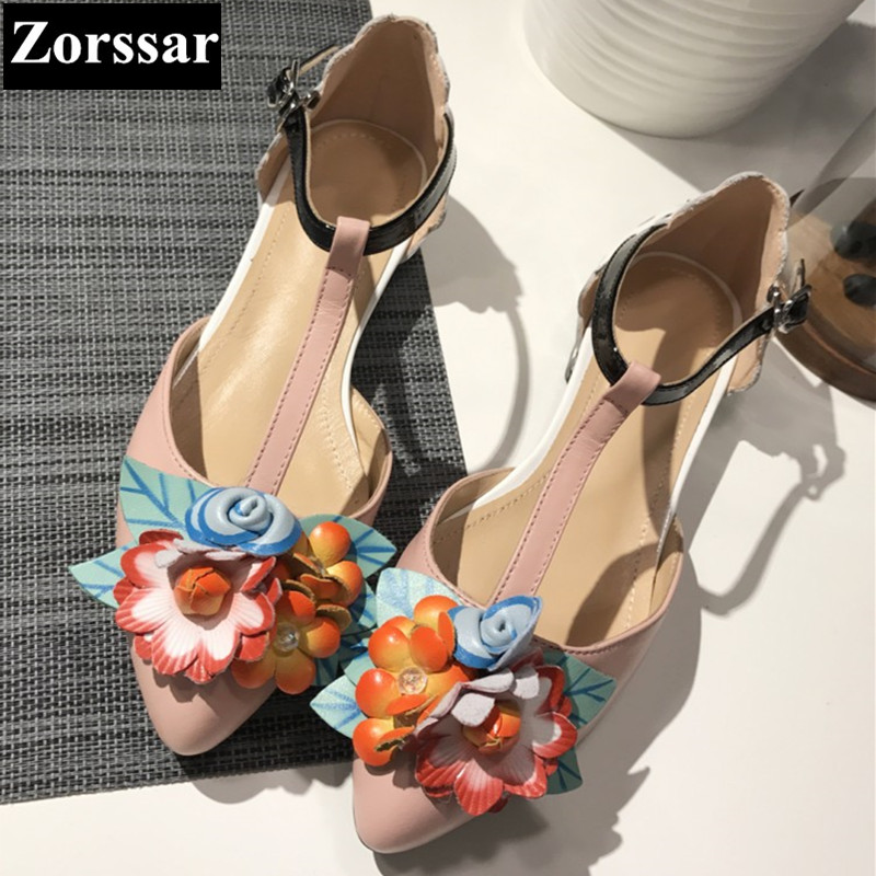 ФОТО Women Summer shoes comfort flat sandals pointed toe woman leisure shoes 2017 Fashion flowers Casual womens flats Mary Jane shoes