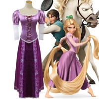 Adlut Women Princess Rapunzel Dress Tangled Fairytale Cosplay Costumes Wigs